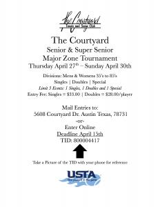 Senior Super Senior Classic Tournament @ Courtyard Tennis Club